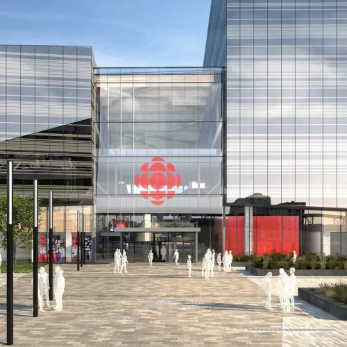 Main entrance seen from Papineau Square. Credit: Broccolini